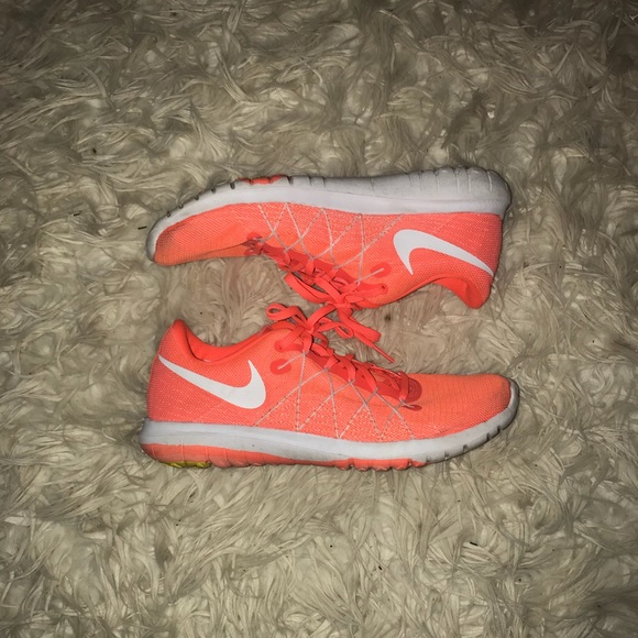 Peach colored nike running shoes!